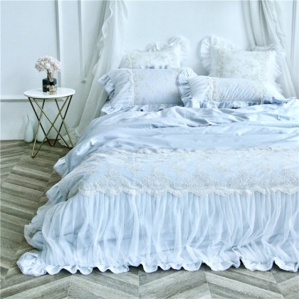 French Lace Ruched Blue Duvet Cover