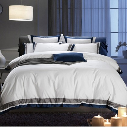 Hotel Egyptian Cotton Duvet Cover Set- Blue Grey