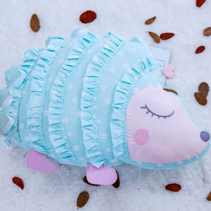Blue Cute Hedgehog Ruffle Plush Cuddle Pillow Cushion Toy