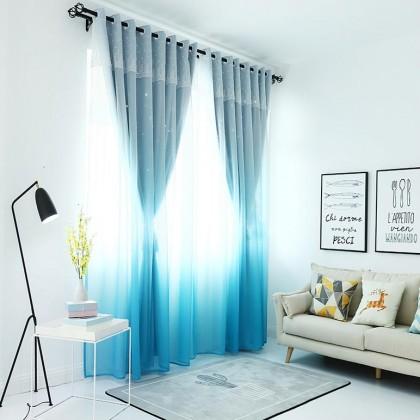 Blue Gradient Stars Blackout Lace Curtain Panel