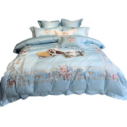 Elegant Embroidery Duvet Cover Set-Blue