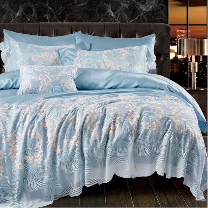 Blue Vienna Lace Egyptian Cotton Duvet Cover Set