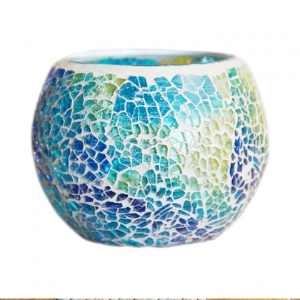 Mosaic Blue Glass Candle Holder Set