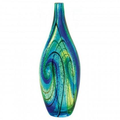 Blue Ocean Swirl Art Glass Vase