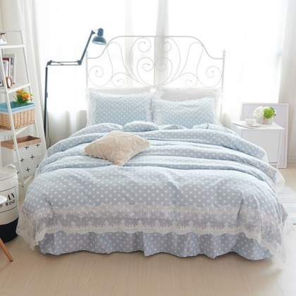Blue Polka Dots Duvet Cover Set