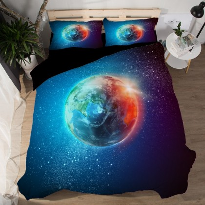 Red Blue Planet Earth  Duvet Cover Set