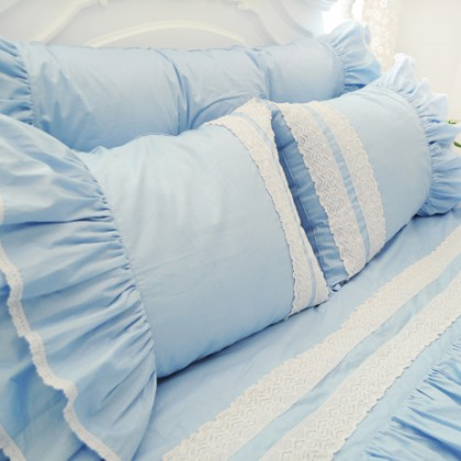 Light Blue Ruffle Duvet Cover Set