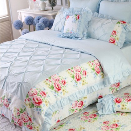Blue Pinch Pleat Puckering Ruffle Duvet Cover Set
