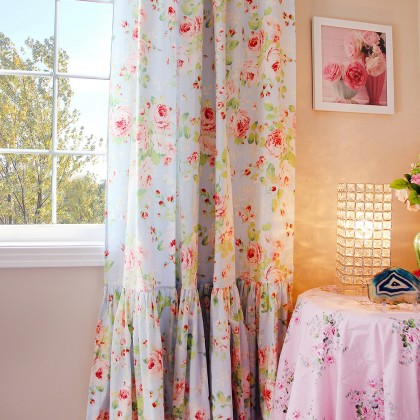 Long Mermaid Ruffle Rose Curtain Panel-Blue