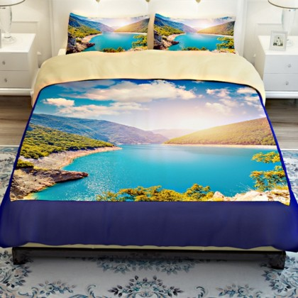 Mountain Lake Scenery Duvet Cover Set