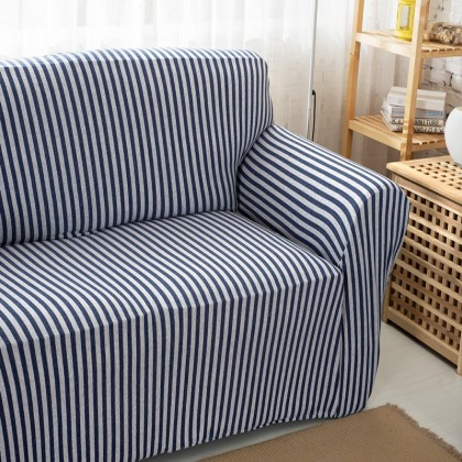 Blue Stripe Stretch Sofa Slipcover