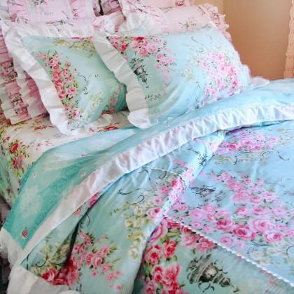 Victorian Blue Rose Polka Dot Mesh Duvet Cover