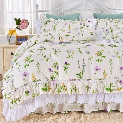 Botanical Garden Double Ruffle Lace Duvet Cover Set