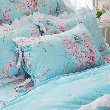 Ribbon Bow Tie Blue Pillow Sham
