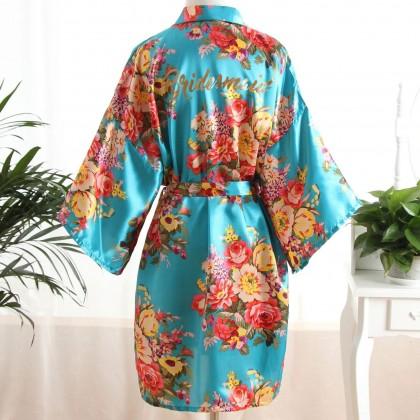 Bridesmaid Floral Kimono Satin Robe