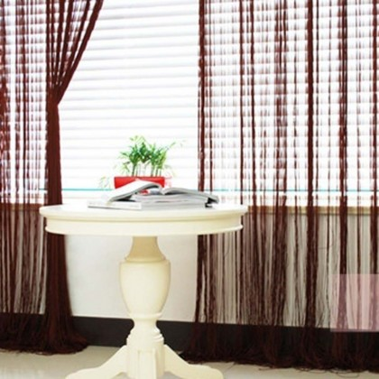 Dark Brown String Curtain Panel