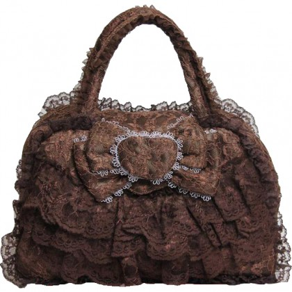 Brown Lace Ruffled Bag