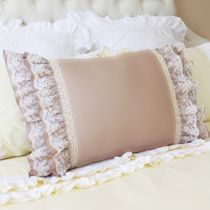 Lace Whisper Ruffle Pillow Sham, Brown