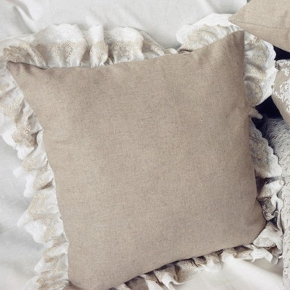 Double Ruffle Lace Cushion Cover