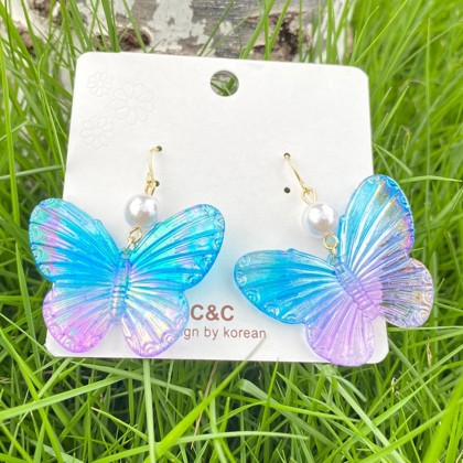 Iridescent Butterfly Earrings 1pair