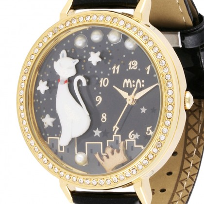 Cat 3D Watch, Gold Frame