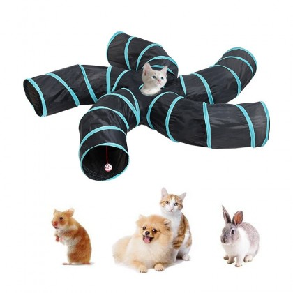 Cat 5 way Tunnel Maze. Peekaboo Toy for Kitten Puppy Rabbits Guinea Pig