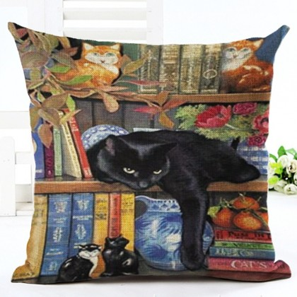 Black Cat on Book Shelf Cushion Cover