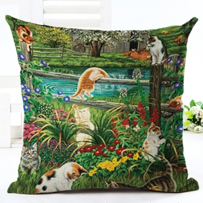 Cats Garden Cushion Cover