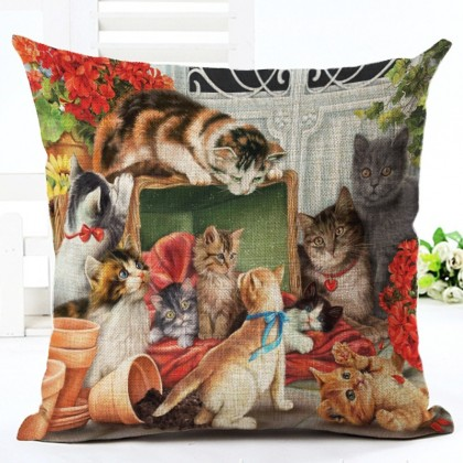 Cats Flower Pot Cushion Cover