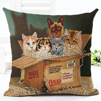 Cats in a Box Cushion Cover