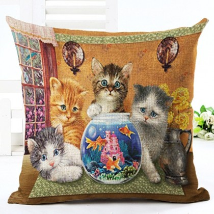 Kitten & Fish Cushion Cover