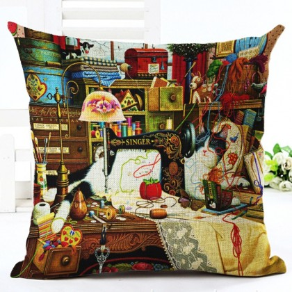 Cat & Sewing Machine Cushion Cover