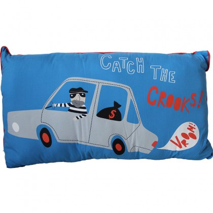 Blue Catch the Crooks Car Pillow