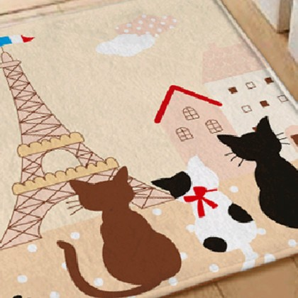 Cats in Paris Rug, Beige