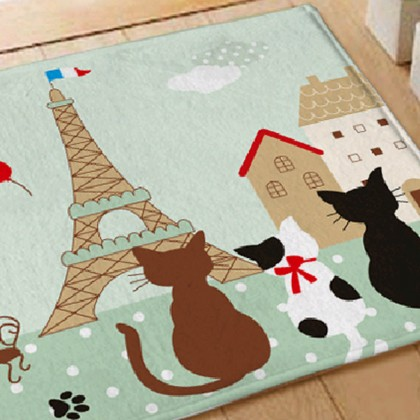 Cats in Paris Rug, Green