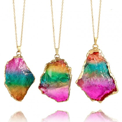 Rainbow Irregular Shape Gemstone Pendant