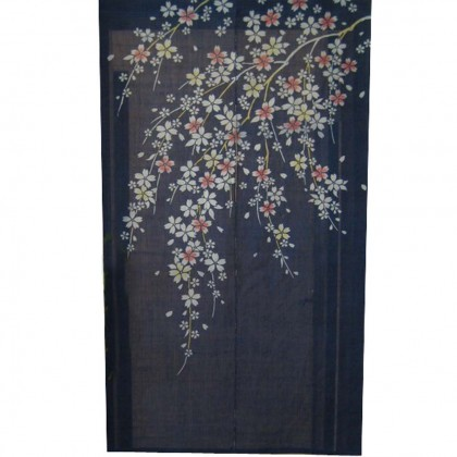 Cherry Blossom Blue Noren Door Curtain