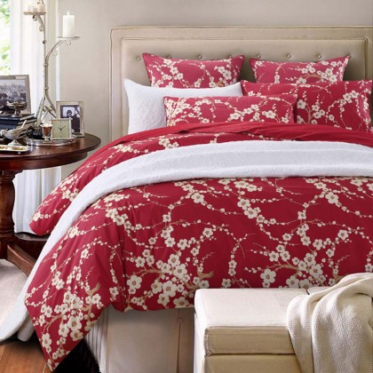 Cherry Blossom Red Duvet Cover Set