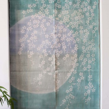 Cherry Blossom in Green Moonlight Door Curtain