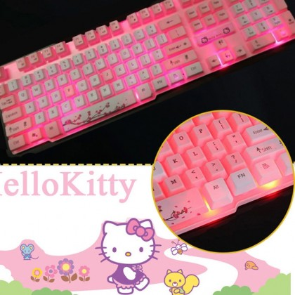 Hello Kitty USB Cartoon Keyboard with Backlight