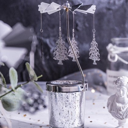 Christmas Tree Carousel Merry Go Round Silver Candle Holder