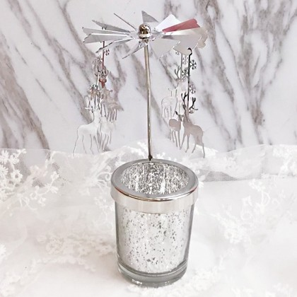 Silver Reindeer Candle Carousel Merry Go Round Candle Holder