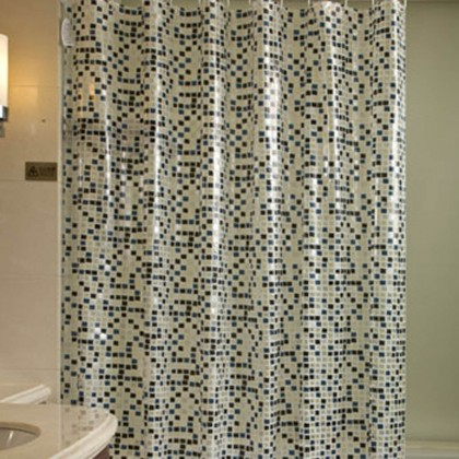 City Block Shower Curtain, Deep Blue