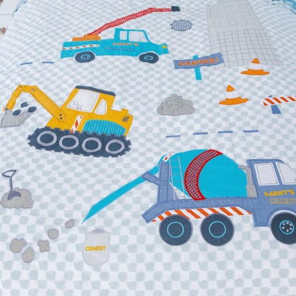 Construction Truck Diggers Crane Duvet Cover Set