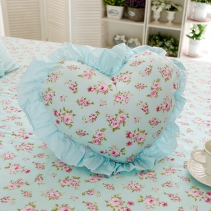 Shabby Chic Floral Ruffle Heart Pillow