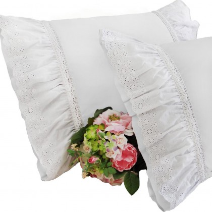 Vintage White Lace Pillow Sham