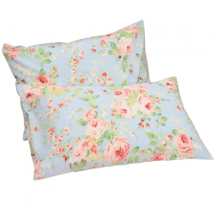 Light Blue Shabby Rose Pillow Sham ( pair)