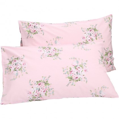 Pink Shabby Rose Pillow Sham ( pair)