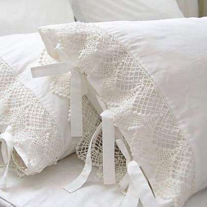 Crochet Lace White Pillow Sham