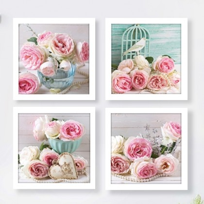 Shabby Chic Rose Pearl Wall Art Prints 4 pcs